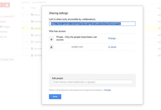 Retrieve shared link for Nivo Slider file in Google Drive