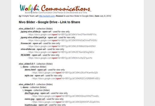 Nivo Slider Google Drive Links to Share