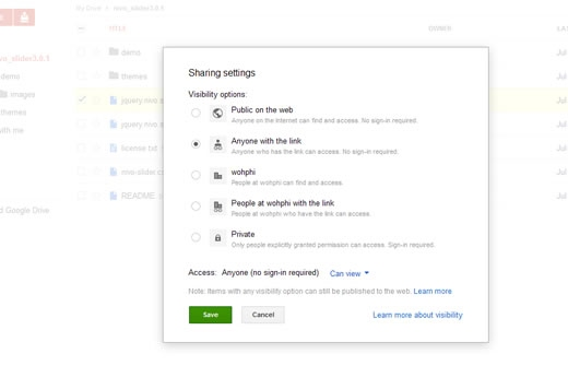 Visibility for Nivo Slider file in Google Drive