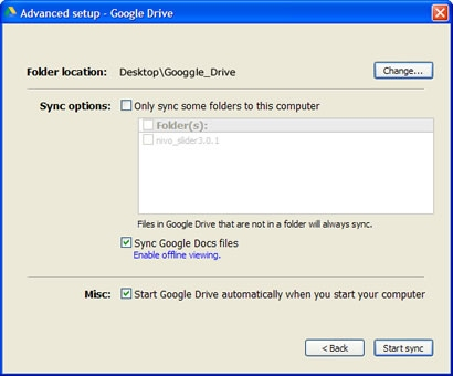 Advanced Setup - Google Drive